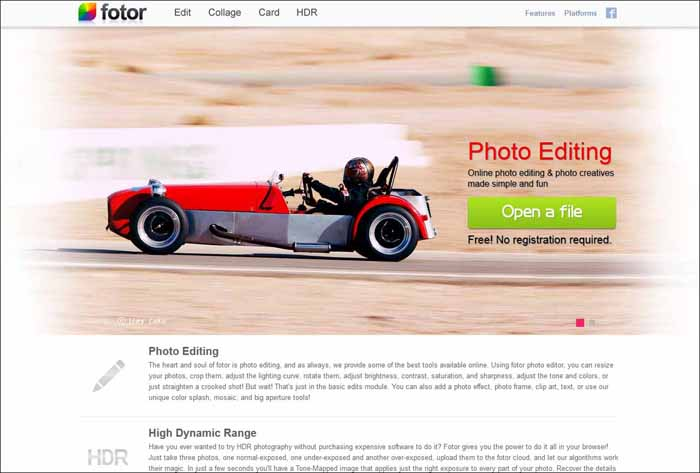 fotor 16 Melhores Editores de Fotografia Gratis para Utilização Online