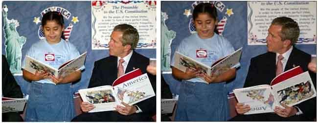george bush book school 12 Fotografias Manipuladas mais Conhecidas da História